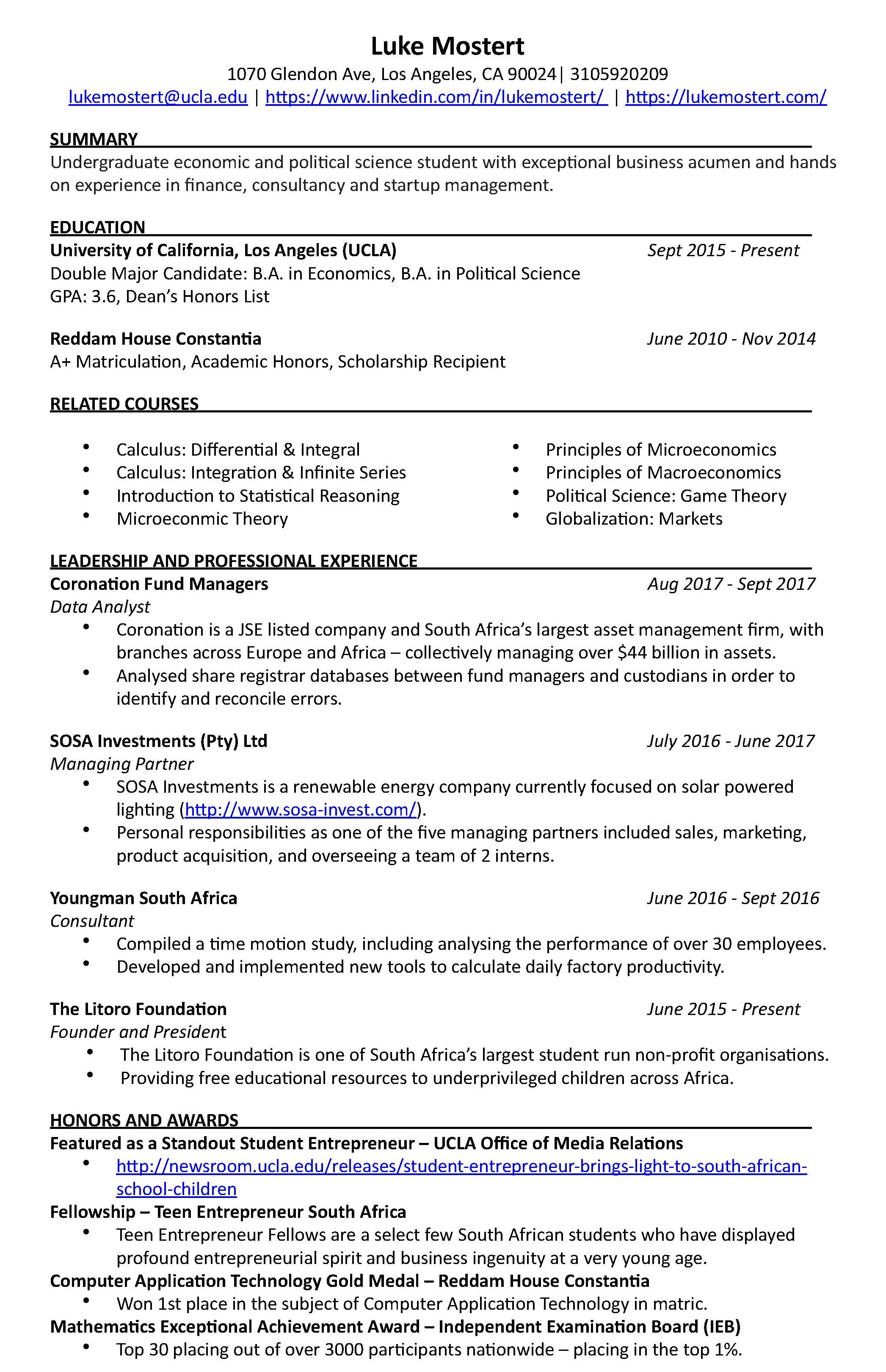 Resume Of Luke Mostert Luke Mostert